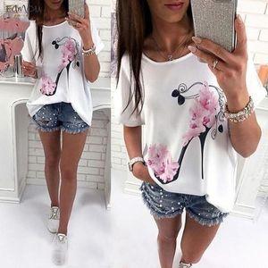 New Fashion Women Short Sleeve High Heels Printed Tops Beach Casual Loose Blouse Top Shirt Drop Shipping