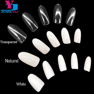 500 X Nail Art Tips Clear / Natural / Branco Rodada a Sharp End Falso Falso Nails Dicas Manicure Artificial completa Falso Nail Art