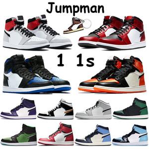 High jumpman 1 1s zapatillas de baloncesto para hombre humo claro gris pino verde seta negra royal bred toe chicago shadow shattered backboard trainer