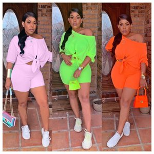 2019 women new summer three quarter length sleeve tie up hem off shoulder top shorts suit two piece set tracksuit outfit Q5102 CX200715
