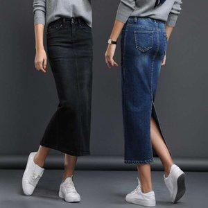 Lguc.H Klasik Kot Etek Kadın Uzun Kot Etek Bölünmüş Yüksek Bel Etek Kadın 2020 Kadın Jupe Femme Siyah Mavi Yıkanmış