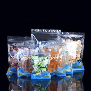 100Pcs Blue Clear Plastic Food Packaging Zip Lock Storage Bag Poly Ziplock Zipper Reclosable Tea Fruit Snack Nuts Package