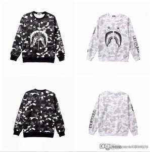 2018 Unisex Hot A Bathing A Ape 18Bape Monkey Head Casual Round Neck Hoodie Pullover Sweater Camo Sweater Pullovers Thick Sweatshirt Coat