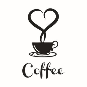 12x20cm Coffee Cup PVC Wall Stickers Removable Cafe Shop Kitchen Decorations Waterproof Wallpapers Home Décor Home & Garden HA1013