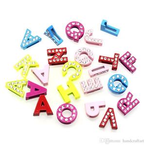 8MM Slide письмо очаровывает кристаллические шармы для DIY браслет браслет A-T может выбрать Женщины Kid ювелирные изделия LSSL024