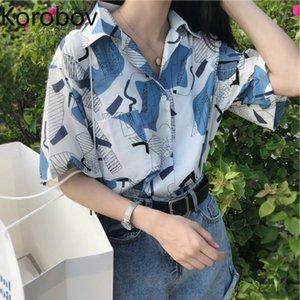 Korobov Woman Blusas Tops 2019 Summer Short Sleeve Turn-down Collar Shirts Harajuku Print Blouse Korean Causal Shirt 77530 Y200622