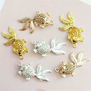 RGCrA New Korean hollowed-out small goldfish single hanging alloy DIY accessories diy handmade hair accessories antique Xiuhe clothing bag s