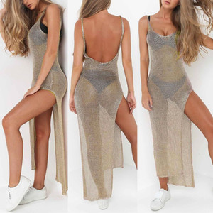Mulheres Sexy Summer protetor solar Sheer malha Bikini Cover Up Metallic cor sólida Backless alta Slit Beach Club Party Dress mangas