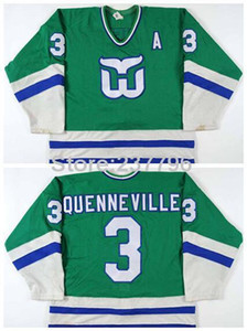 2016 Nuevo, Hartford Whalers Joel Quenneville Jersey 3 Team Color Green Hombre Joel Quenneville Ice Hockey Jerseys Stitched Logo Bes