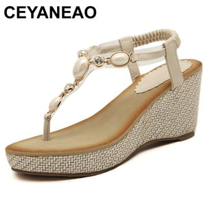 CEYANEAO Summer new women fashion sandals sweet slope with comfortable wild sandals Bohemian diamond clip toe woman shoes size