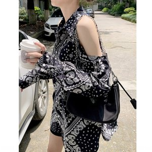 ArEgd Temperament goddess fan strapless dress Shoulder strap shirt careful design sense niche sunscreen printing shirt dress top female fash