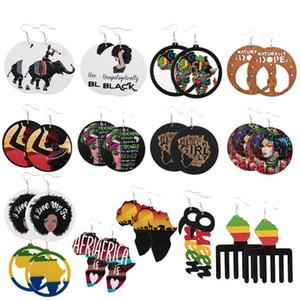 14 Styles Geometrie Runde hölzerne Ohrringe baumeln Printed African Female Portrait Letters Ohrring Afro Karten Kamm-Form-Ohr-Haken Eardrop Frauen