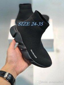2020 zapatos de los niños velocidad Stretch Knit-top respirable Deportes bolsita original velocidad Niños tope de goma Trainer las zapatillas de deporte