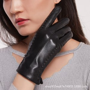 Frauen-Winter warme Outdoor-Warm electrombile fährt Elektroauto Samthandschuhe Touch-Screen PU-Leder-Handschuhe