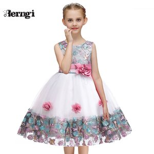 Berngi 2019 New Girls beautiful Flower Dresses Embroidery Design For Child Kids Wedding Pageant Formal Gown Prom Party T200709