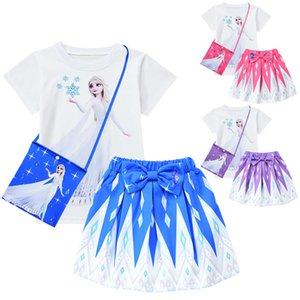 3pcs set Ice girl, children's suit skirt, girls' 3-piece suit, children's short-sleeved T-shirt + short skirt + bag