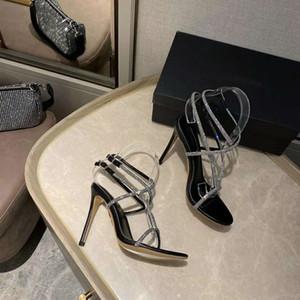 Yeni Sezon Kadın Aquazzura Sandalet İnce Topuk Moda Seksi Gerçek Deri Bling Rhinestone 105 Topuk Kristal Düğün Ayakkabı
