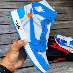 Off White x Nike Air Jordan 1 Custom Basketball-Schuhe Fragment Chicago White UNC Retro-Turnschuhe Trainer Männer Motorradrennschuhe