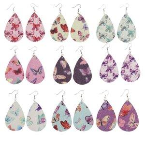 Shining Water Drop PU Leather Earrings Printed Butterfly Teardrop Charm Pendant Eardrop Ear Hook Earring For Women Jewelry Gifts