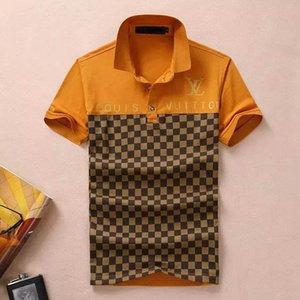 Lüks Tasarım Klasik T Yaz Erkek Polo Shirts668 # gömlek Moda ulusal bayrak Yaka Tişörtler Medusa GG yazmak Tops kısa kollu