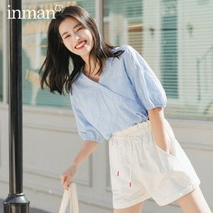 Blouses & Shirts INMAN 2020 Summer New Arriavl Pure Cotton V-neck Improved Han Chinese Clothing Fashion Retro Blouse