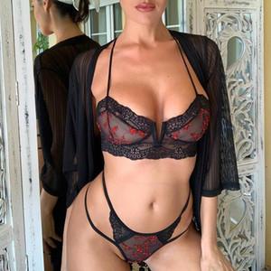 Set Reggiseni Slip 2pcs vestiti del bikini delle donne del bikini delle donne di vita bassa del progettista del merletto scava fuori sexy