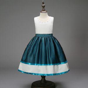 Pageant Dresses For Girls Sleeveless Lace Flower Girl Dresses Red Wine Blue Kids Ball Gowns Wedding Dress Sash Beading Belt