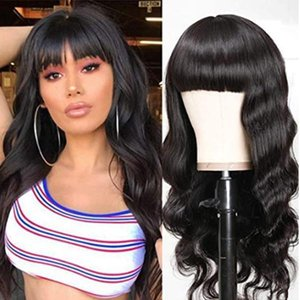 Nadula Malaysian Body Wave Wig with Bangs Virgin Human Hair Capless Wigs with Full Bangs 150% Density Glueless Machine Made Wigs 18INCH
