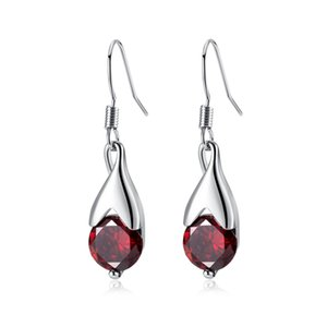 18K White Gold Plated Teardrop Red Ruby Charm Dangle Drop Earrings Fashion Womens Jewelry Bijoux for Party Wedding