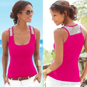 Women Sequined Camisoles Summer Candy Color Big U Collar Vests Tanks Top Sleeveless Sexy Tees Tops