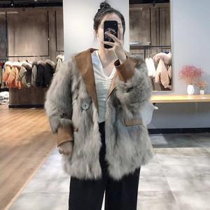 LaVelache Escudo Piel real 2020 nuevo lujo de la chaqueta de invierno natural de las mujeres de piel Prendas de cuero de bolsillo grueso Streetwear