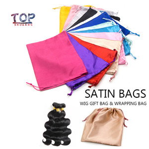 Blank Stock 18x25Cm Satin Silk Wig Bags For Gift Hair Extension Packing Drawstring Pouch Accept Virgin Hair Bags