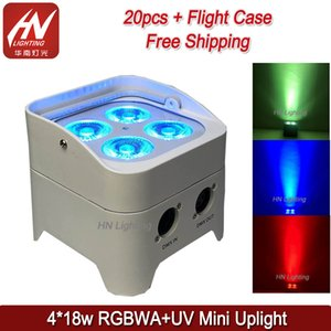 20pcs wedding uplight 4x18W uplighter rgbwa uv 6in1 wireless uplighting battery operated freedom par dj can light remote control with case