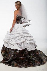 Elegant White Camo Wedding Dresses 2021 A Line Satin Camoflage Plus Size Wedding Bridal Gowns Custom Party Dress