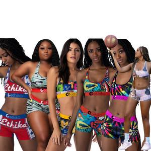 Las mujeres más el tamaño Deportes sujetador + shorts 2 Piece Set blusas atractivas + boxeadores del basculador Traje S-XL yoga de la aptitud Running Ropa de baño