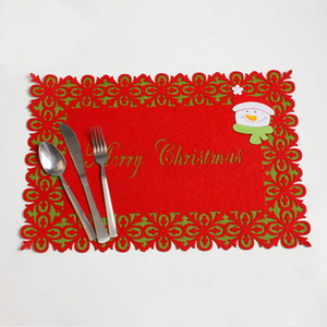 Christmas theme Santa Claus Double layer Tableware mats Christmas Table Placemat gift pad supplies IC976361