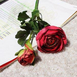 kurzer Zweig nach Hause Display Hochzeit Fotografie Dekoration künstliche Blumen 2heads / Bündel Floristik Camellia Wohnzimmertisch