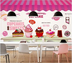 3d wallpaper stickers custom photo Hand painted afternoon tea ice cream cold drink shop background wall mural paper photo wallpaper 3d