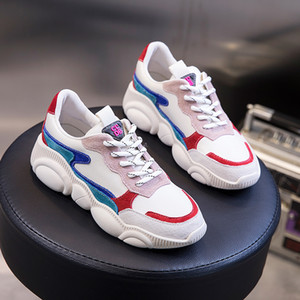 Genuine Leather White Shoes Korean Style Bear Shoes 2020 Spring and Autumn New Womens Shoes All-match Student Ins Dad Women