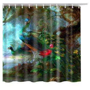 Bath Curtains peacock feathers Fashion Custom Shower Curtain 3d Cartoon Pattern Bathroom Decor T200711