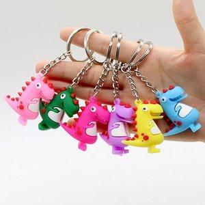 Animal Dinosaur Keychain Toys Dinosaur Gift And Will Hangs Backpack Hangs Hangbag Kids Pvc Fashion Jewelry Sandy Key Rings Cartoon Nwjka