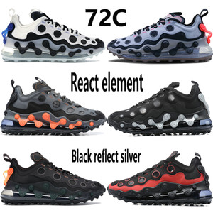 72C reagir mens elemento tênis branco novo preto total de laranja vermelha refletir metálicos homens de prata mulheres treinador tênis EUR 36-45