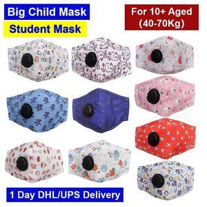 1 день DHL Ship Design Дизайнер Маска Большой Детский 10-18 Aged Студенческая маска Cotton Washable Многократное Resuable маска для лица с РМ2,5 Фильтр