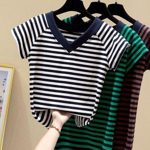 Women Summer Harajuku Cotton Stripe T-shirt Casual Korea Fashion Loose Tees Tops V Neck Short Sleeve Female Slim Soft T shirt