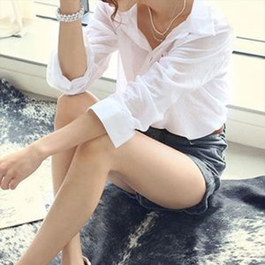 Bahar Gömlek Kadınlar Pamuk Beyaz Gömlek açın Aşağı Yaka Uzun Kollu Casual Kadınlar Drop Shipping Tops