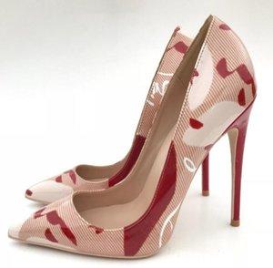 Hot Sale-New Spring Weiblich Denim Stitching Weiß Absätzen Schuhe mit hohen Absätzen Red Bottom Spiked Sexy Shallow Mund Frauen-Kleid-Schuhe