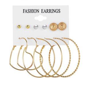 Women Creative Retro Simple Earrings set Imitation Pearl Twist Circle Earrings Fashion Jewelry 6 Pairs set