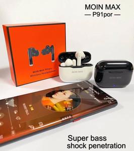 Designer de luxo p91 Original Pro 5.0 Fone de ouvido Bluetooth TWS Wireless Headphones HiFi música Earbuds Sports Gaming Headset