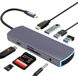 C USB Hub Tipo-c 8 en 1 multi-puertos USB HUB-C a 3 * HDMI 3.0 HUB 4k + 3,5 mm + PD + TF + lector de tarjetas SD para MacBook Pro Mate20