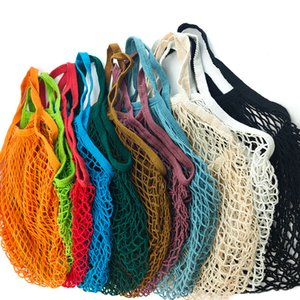Portable Reusable Grocery Bags Fruit Vegetable Bag Washable Cotton Mesh String Organic Organizer Handbag Long Handle Net Tote
